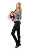 Cheerful young blonde with a handbag. Isolated Stock Photography
