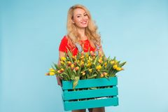 Cheerful young blonde woman florist with box of tulips over blue background royalty free stock photography