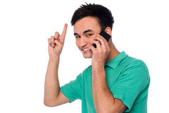 Cheerful young boy communicating Stock Photo