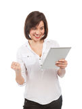 Cheerful young brunette and electronic tablet Stock Image