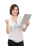 Cheerful young brunette and touchpad Stock Image