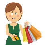 Cheerful young brunette woman in green summer dress giving credit card posing with shopping bags Royalty Free Stock Image