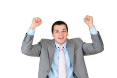 Cheerful young businessman isolated Royalty Free Stock Photography