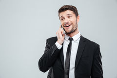 Cheerful young businessman talking on mobile phone Royalty Free Stock Photo