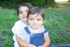 Children boy girl outdoor family sister brother concept royalty free stock photography