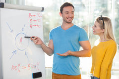 Cheerful young colleagues are discussing new Royalty Free Stock Photos