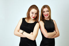 Cheerful young colleagues posing side by side Royalty Free Stock Photography