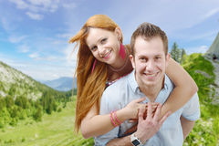 Cheerful young couple in love Royalty Free Stock Images