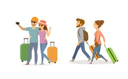 Cheerful young couple , man and woman traveling with suitcases. Set Royalty Free Stock Photos