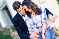 Cheerful Young Couple On A City Street Royalty Free Stock Images