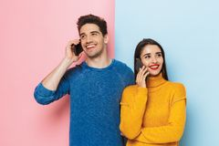 Cheerful young couple standing stock image