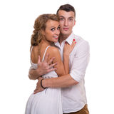 Cheerful young couple on white background, isolated Stock Images