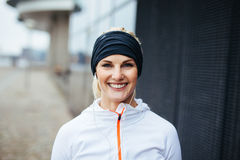 Cheerful young fitness woman Stock Image