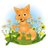 Cheerful young fox on a glade Royalty Free Stock Photo