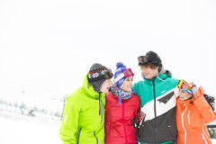 Cheerful young friends standing arm around in snow Royalty Free Stock Photo