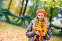 Cheerful young girl with bunch of leaves Stock Photo