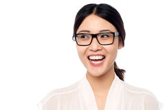 Cheerful young girl in eyeglasses Stock Image