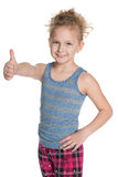 Cheerful young girl holds her thumbs up Stock Photography