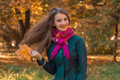 Cheerful young girl keeps leaves and her hair fly through the air Royalty Free Stock Photos