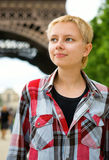 Cheerful young girl in Paris Stock Images