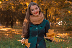 Cheerful young girl in  warm scarf is standing on the street and keeps the dry leaves in the hands of Stock Image