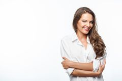 Cheerful young healthy woman is evincing shyness Stock Photography