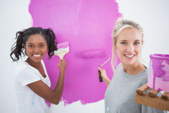 Cheerful young housemates painting wall pink Stock Photography