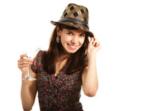 Cheerful young lady with martini glass Royalty Free Stock Photo