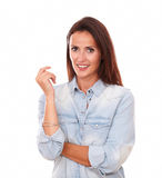 Cheerful young lady smiling at you Royalty Free Stock Photos