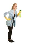Cheerful young lady spraying cleaner liquid Stock Photography