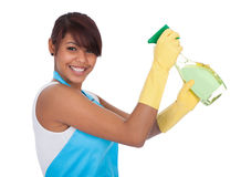 Cheerful young lady spraying cleaner liquid Stock Photos