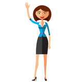 Cheerful young lady waving her hand flat cartoon vector illustration. Eps10. Isolated on a white background. Royalty Free Stock Image