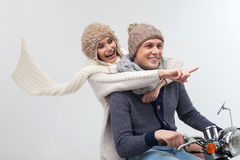 Cheerful young loving couple is enjoying trip royalty free stock photos