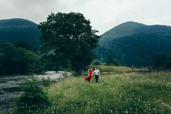 Cheerful young loving couple is holding hands while actively walking along chamomile meadow near the river in the. Mountains covered with trees Royalty Free Stock Photography