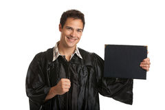 Cheerful Young Male Man Holding Graduation Certificate Isolated Stock Photos