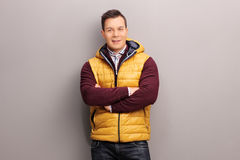 Cheerful young man in casual clothes Stock Photos