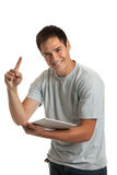 Cheerful Young Man Holding a Touch Pad Tablet PC Stock Photos