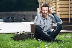 Cheerful Young Man Is Relaxing In City Stock Image