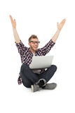 Cheerful young man with laptop raising hands Royalty Free Stock Photos