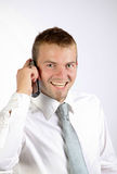 Cheerful Young Man On The Phone. Cheerful Man Talking On The Phone In A Corporate Attire Royalty Free Stock Photography