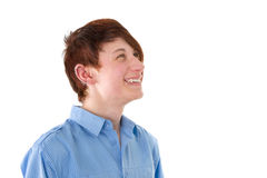 Cheerful young man with piercing isolated on white. Royalty Free Stock Images