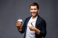 Cheerful young man in smart casual wear stock photos