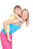 Cheerful young mother and her baby. On white Stock Photos