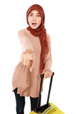 Cheerful young muslim woman was pointing Royalty Free Stock Photos