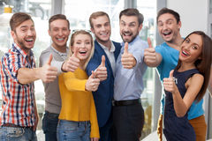 Cheerful young office workers are gesturing Royalty Free Stock Photography