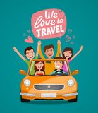 Cheerful young people or happy friends traveling by car. Journey, travel, vacation concept. Cartoon vector illustration. Cheerful young people or happy friends stock illustration