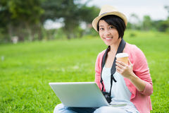 Cheerful young photographer Royalty Free Stock Image