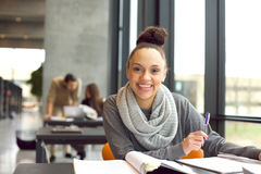 Cheerful young student preparing for final exams Royalty Free Stock Images