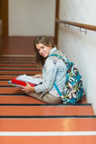 Cheerful young student sitting on stairs looking up at camera Royalty Free Stock Image