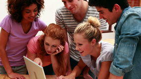 Cheerful young students using laptop together stock footage
